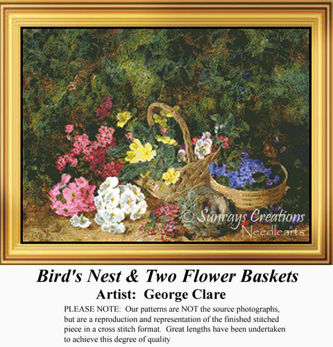 Bird's Nest & Two Flower Baskets, Flowers Counted Cross Stitch Pattern