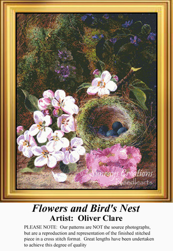 Flowers and Bird's Nest, Flowers Counted Cross Stitch Pattern
