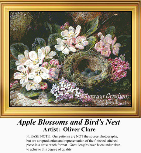 Apple Blossoms and Bird's Nest, Flowers Counted Cross Stitch Pattern