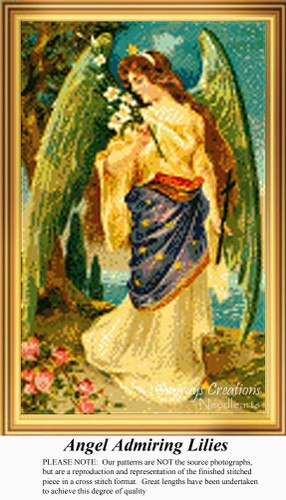Angel Admiring Lilies, Angel Counted Cross Stitch Pattern