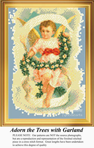 Adorn the Trees with Garland, Angel Counted Cross Stitch Pattern