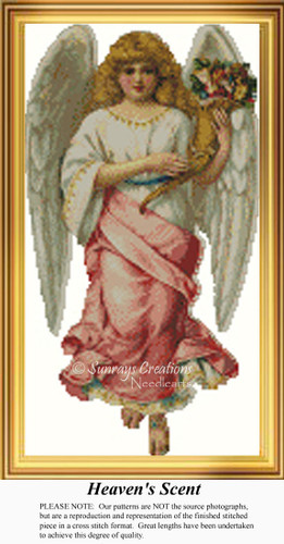Heaven's Scent, Angel Counted Cross Stitch Pattern