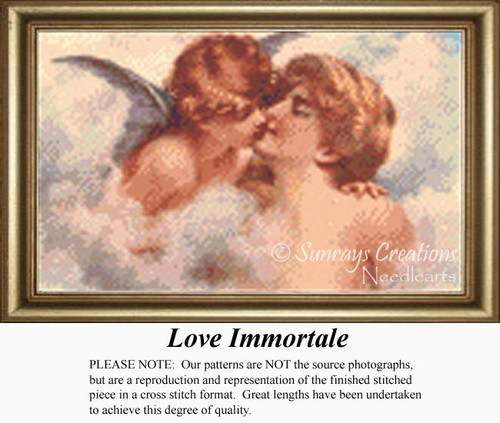 Love Immortale', Angel Counted Cross Stitch Pattern