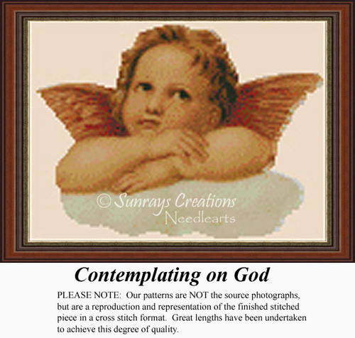 Contemplating on God,  Angel Counted Cross Stitch Pattern