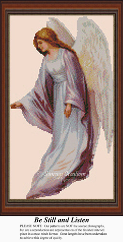Be Still and Listen, Angel Counted Cross Stitch Pattern