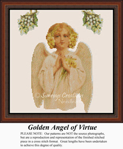 Golden Angel of Virtue, Angel Counted Cross Stitch Pattern