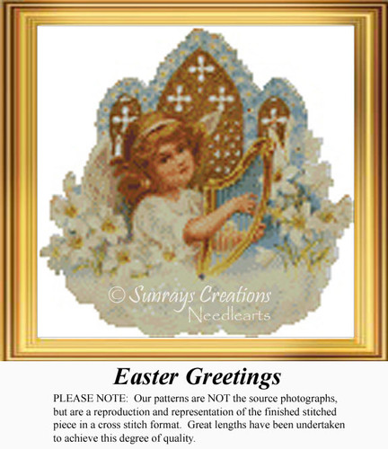 Easter Greetings, Angel Counted Cross Stitch Pattern