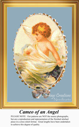 Cameo of an Angel, Angel Counted Cross Stitch Pattern