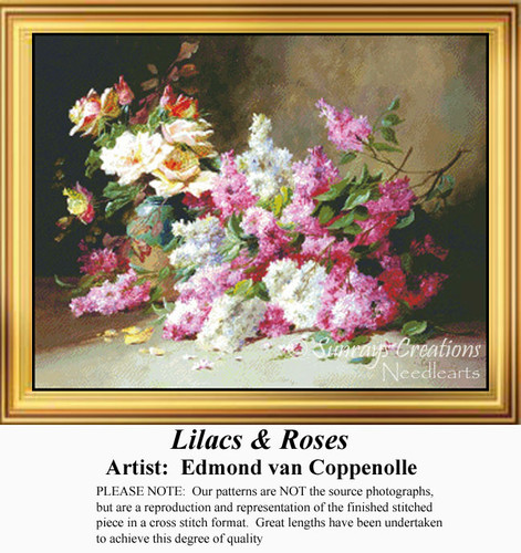 Lilacs & Roses, Flowers Counted Cross Stitch Pattern