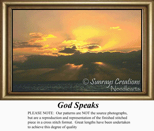 God Speaks, Skyscapes Counted Cross Stitch Pattern