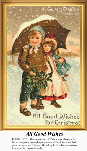 All Good Wishes, Vintage Counted Cross Stitch Pattern