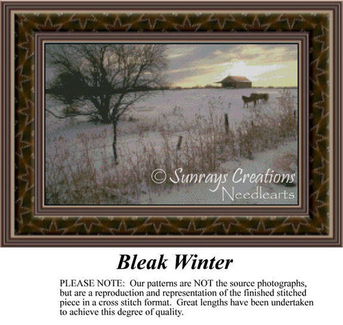Bleak Winter, Alluring Landscapes Counted Cross Stitch Pattern, Winter Counted Cross Stitch Pattern