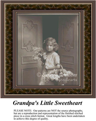 Grandpa's Little Sweetheart, Sepia Counted Cross Stitch Pattern