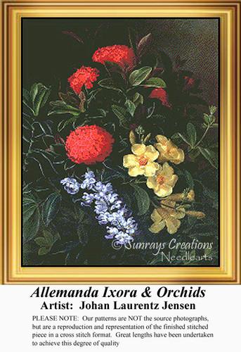 Allemanda, Ixora & Orchids, Flowers Counted Cross Stitch Pattern