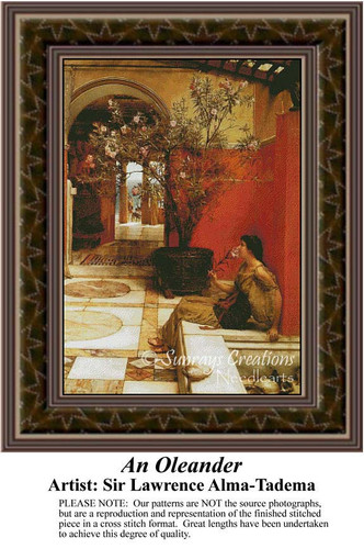 An Oleander, Fine Art Counted Cross Stitch Pattern, Women Counted Cross Stitch Pattern