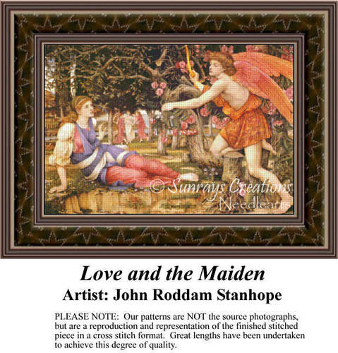 Love and the Maiden, Fine Art Counted Cross Stitch Pattern, Romance Counted Cross Stitch Pattern