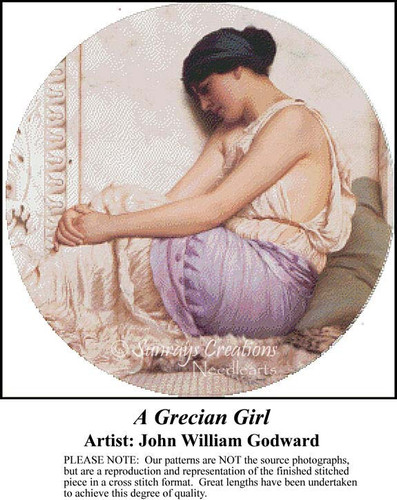 A Grecian Girl, Fine Art Counted Cross Stitch Pattern, Women Counted Cross Stitch Pattern