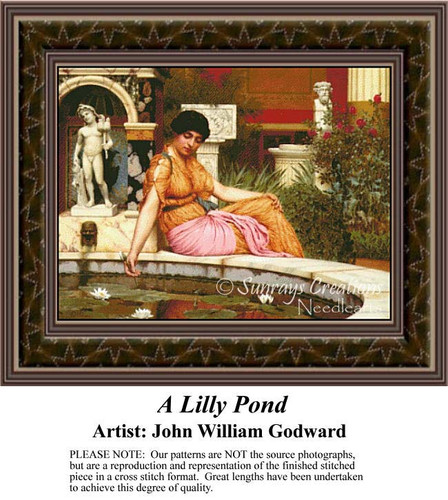 A Lily Pond, Fine Art Counted Cross Stitch Pattern, Women Counted Cross Stitch Pattern