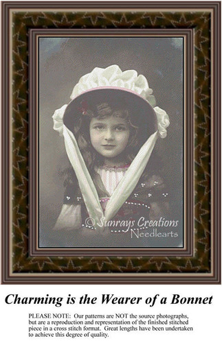 Charming is the Wearer of a Bonnet, Sepia Counted Cross Stitch Pattern