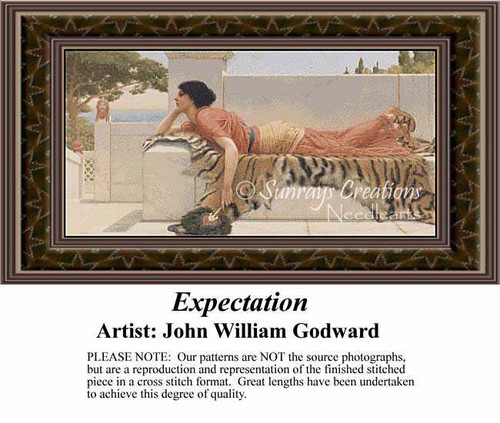 Expectation, Fine Art Counted Cross Stitch Pattern, Women Cross Stitch Patterns