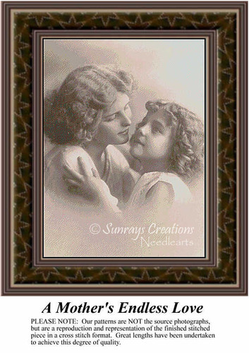 A Mother's Endless Love, Sepia Counted Cross Stitch Pattern