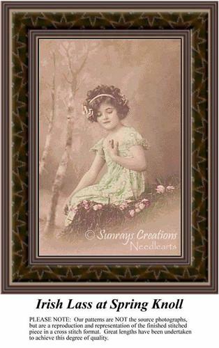 Irish Cross Stitch Patterns Kits | Irish Lass at Spring Knoll, Spring Counted Cross Stitch Pattern