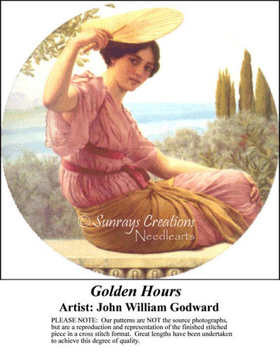 Golden Hours, Fine Art Counted Cross Stitch Pattern, Women Counted Cross Stitch Pattern