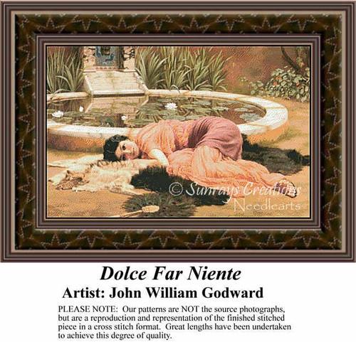 Dolce Far Niente, Fine Art Counted Cross Stitch Pattern, Women Counted Cross Stitch Pattern