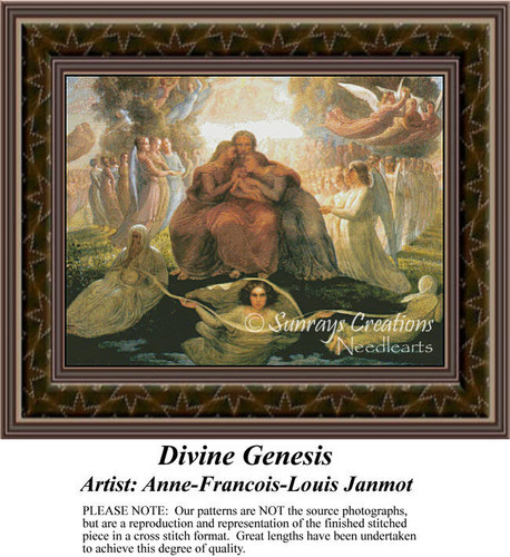 Divine Genesis, Fine Art Counted Cross Stitch Pattern