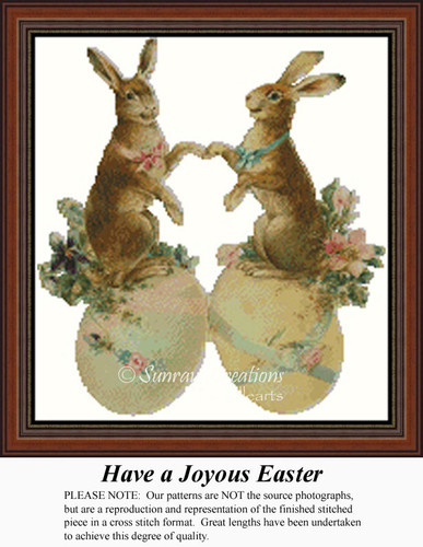 Have a Joyous Easter, Vintage Counted Cross Stitch Pattern