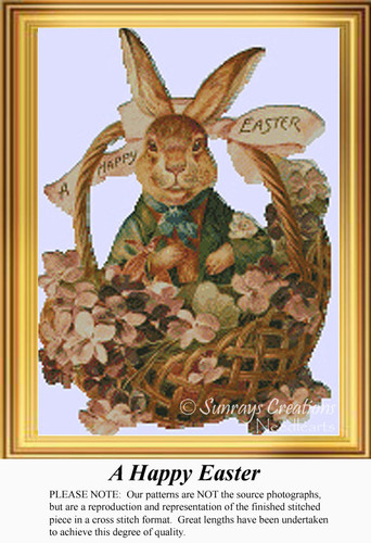 A Happy Easter, Vintage Counted Cross Stitch Pattern