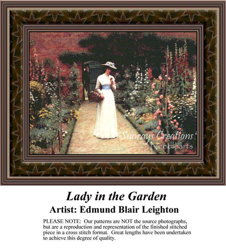 Lady in a Garden, Fine Art Counted Cross Stitch Pattern, Women Counted Cross Stitch Pattern