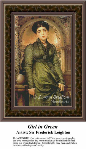 Girl in Green, Fine Art Counted Cross Stitch Pattern, Women Counted Cross Stitch Pattern
