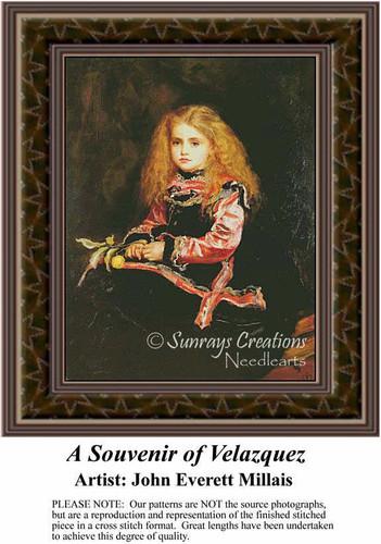 A Souvenir of Velazquez, Fine Art Counted Cross Stitch Pattern, Children Counted Cross Stitch Pattern