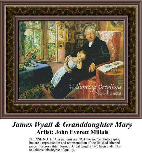 James Wyatt & Granddaughter Mary, Fine Art Counted Cross Stitch Pattern, Family Counted Cross Stitch Pattern
