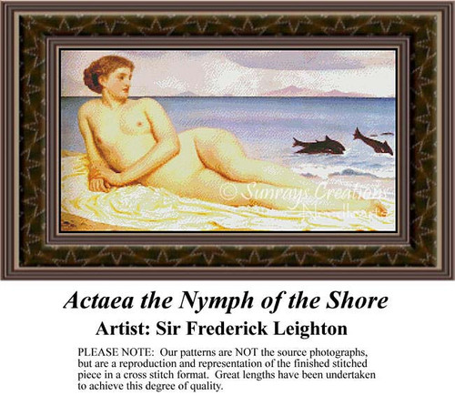 Actaea the Nymph of the Shore, Fine Art Counted Cross Stitch Pattern, Fantasy Counted Cross Stitch Pattern