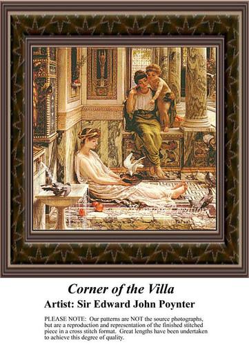 Corner of the Villa, Fine Art Counted Cross Stitch Pattern, Social Counted Cross Stitch Patterns