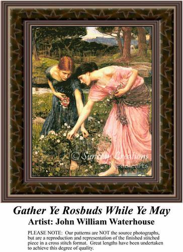Gather Ye Rosebuds While Ye May, Fine Art Counted Cross Stitch Pattern, Women Counted Cross Stitch Pattern