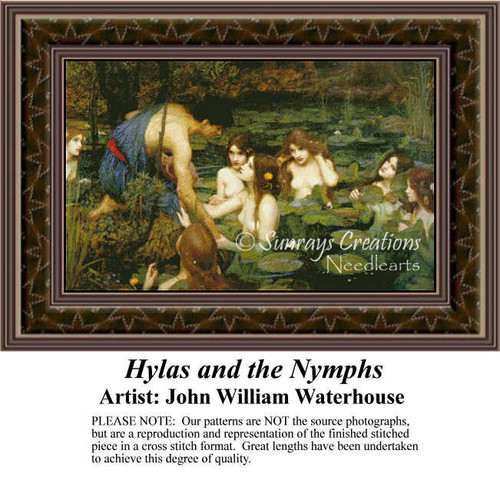 Hylas and the Nymphs, Fine Art Counted Cross Stitch Pattern, Social Counted Cross Stitch Pattern