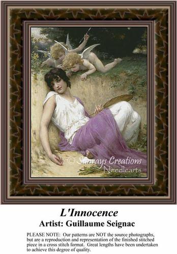 L'Innocence, Fine Art Counted Cross Stitch Pattern, Women Counted Cross Stitch Pattern