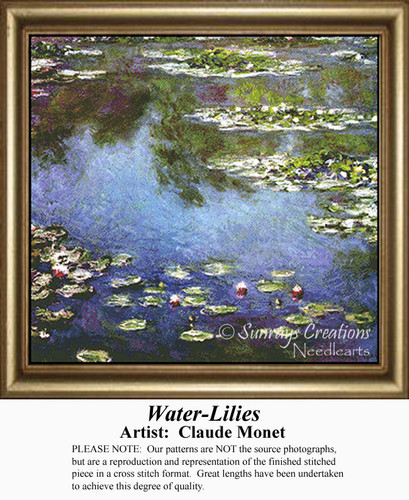 Waterlilies, Flowers Counted Cross Stitch Pattern