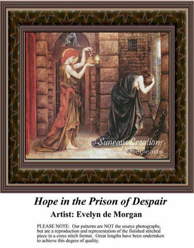 Hope in the Prison of Despair, Fine Art Counted Cross Stitch Pattern, Women Counted Cross Stitch Pattern