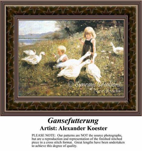 Gansefutterung, Fine Art Counted Cross Stitch Pattern, Children Counted Cross Stitch Pattern