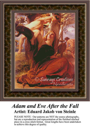 Adam and Eve After the Fall, Fine Art Counted Cross Stitch Pattern