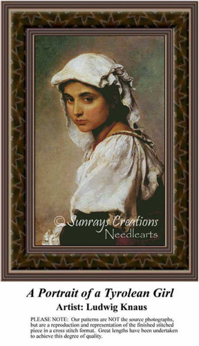 A Portrait of a Tyrolean Girl, Fine Art Counted Cross Stitch Pattern, Children Counted Cross Stitch Pattern