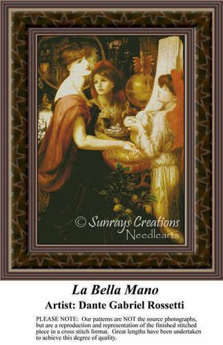 La Bella Mano, Fine Art Counted Cross Stitch Pattern, Women Counted Cross Stitch Pattern