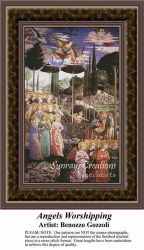 Angels Worshipping, Angel Counted Cross Stitch Pattern