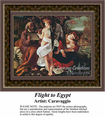 Flight to Egypt, Fine Art Counted Cross Stitch Pattern, Social Counted Cross Stitch Pattern
