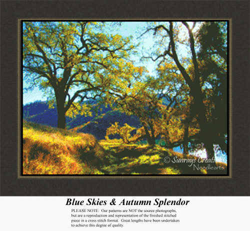 Blue Skies & Autumn Splendor, Alluring Landscapes Counted Cross Stitch Pattern, Fall Counted Cross Stitch Patterns
