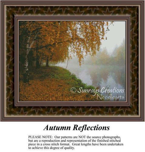 Autumn Reflections, Alluring Landscapes Counted Cross Stitch Pattern, Fall Counted Cross Stitch Pattern